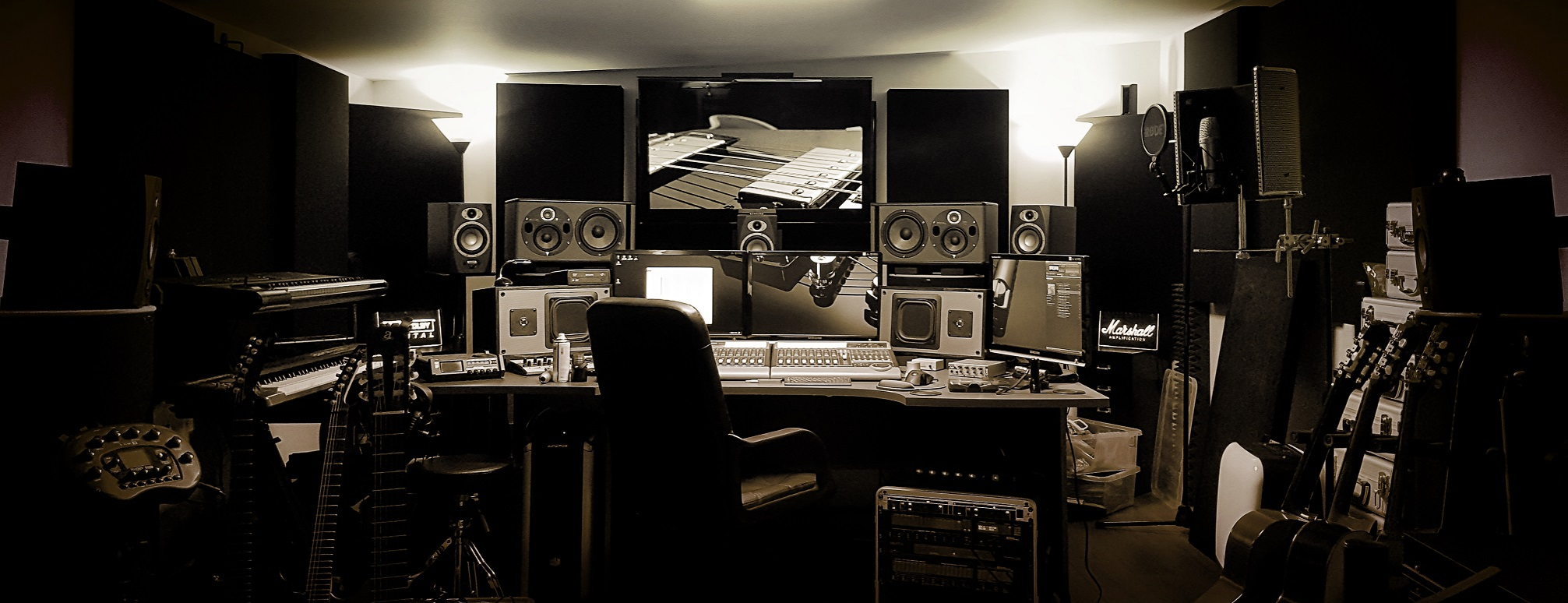 Recording studio equipment panoramic