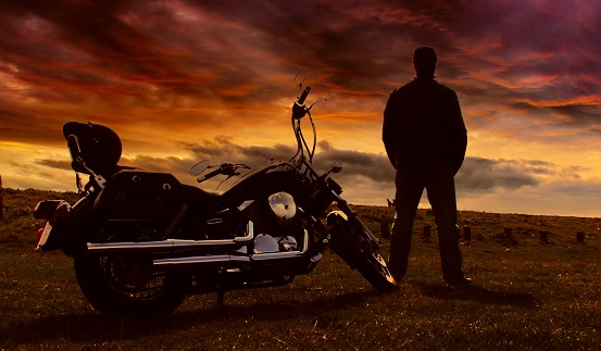 Profile picture with motorbike and sunset 2