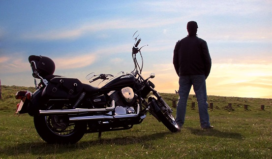 Profile picture with motorbike and sunset 1