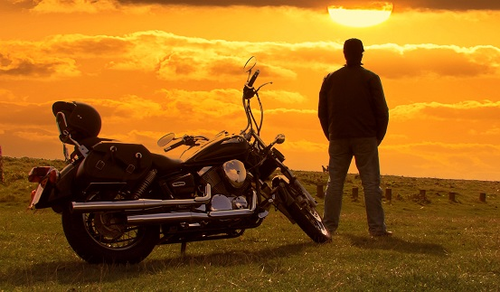Profile picture with motorbike and sunset 3